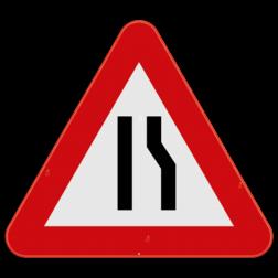 Verkeersbord A7c: Dit gevaarsbord geeft aan dat u een rijbaansversmalling nadert naar rechts. De weggebruiker dient zijn snelheid aan te passen en zich klaar te maken om uit te wijken naar links. Verkeersbord SB250 A7c - Rijbaanversmalling rechts A7c