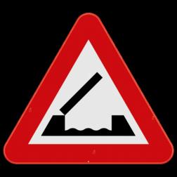 Verkeersbord A9: Dit gevaarsbord geeft aan dat u een beweegbare brug nadert. De weggebruiker moet zijn snelheid aanpassen en alvast uitkijken naar lamp- en belsignalen. Verkeersbord SB250 A9 - Beweegbare brug A9