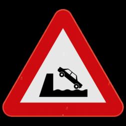 Verkeersbord A11: Dit gevaarsbord geeft aan dat de weg uitkomt op een kaai of oever. Meestal zonder vangrail of hoge berm. De weggebruiker moet extra voorzichtig zijn. Verkeersbord SB250 A11 - Uitweg op kaai of oever A11