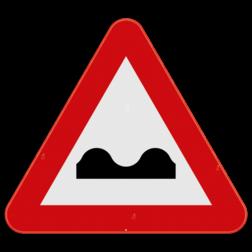 Verkeersbord A13: Dit gevaarsbord geeft aan dat de weg hobbelig is of dwarse uitholling of ezelsrug heeft. De weggebruiker moet zijn snelheid aanpassen. Verkeersbord SB250 A13 - Dwarse uitholling of ezelsrug A13