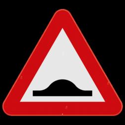 Verkeersbord A14: Dit gevaarsbord geeft aan dat er een verhoging of drempel op de weg is. De weggebruiker moet zijn snelheid aanpassen. Verkeersbord SB250 A14 - Verkeersdrempel A14