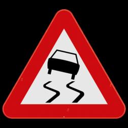 Verkeersbord A15: Dit gevaarsbord geeft aan dat er slipgevaar is. De weggebruiker moet zijn snelheid en rijgedrag aanpassen. Verkeersbord SB250 A15 - Gladde rijbaan A15