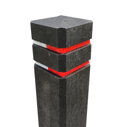 Diamantkoppaal kunststof gerecycled - met reflecterende bandjes diamantkop, paal, bermpaal, kunststof, recycling, reflectorpaal, straatpaal, trottoirpaal, afzetpaal, diamantkoppaal