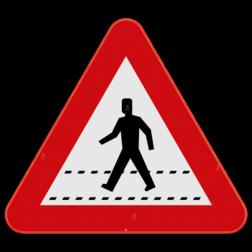 Verkeersbord A21: Dit gevaarsbord geeft aan dat je een oversteekplaats nadert voor voetgangers. Dit bord wordt geplaatst aan zebrapaden of verkeerslichten. Verkeersbord SB250 A21 - Oversteekplaats voor voetgangers A21