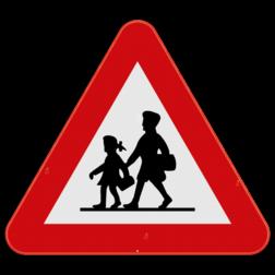 Verkeersbord A23: Dit gevaarsbord geeft aan dat je een plaats nadert waar specifiek veel kinderen zijn. de weggebruiker moet hier extra oplettend zijn. Verkeersbord SB250 A23 - Opgelet Kinderen A23
