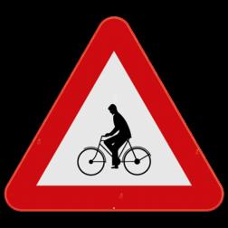 Verkeersbord A25: Dit gevaarsbord geeft aan dat je een oversteekplaats voor fietsers, bromfietsen of speed pedelecs nadert. Of een plaats waar deze op de rijbaan komen te rijden. Verkeersbord SB250 A25 - Oversteekplaats voor fietsers en bromfietsers A25