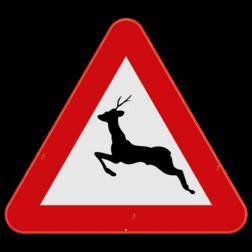 Verkeersbord A27: Dit gevaarsbord geeft aan dat er kans is dat groot wild oversteekt. De weggebruiker moet extra voorzichtig zijn. Verkeersbord SB250 A27 - Overstekend groot wild A27