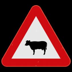 Verkeersbord A29: Dit gevaarsbord geeft aan dat er kans is op een overstekend vee. Pas je snelheid aan, je nadert een oversteekplaats voor vee en langzaam verkeer Verkeersbord SB250 A29 - Overstekend vee A29