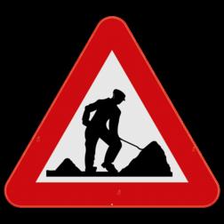 Verkeersbord A31: Dit gevaarsbord geeft aan dat je werken op of langs de weg nadert. De weggebruiker moet zijn snelheid en rijgedrag aanpassen. Verkeersbord SB250 A31 - Werken A31