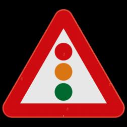 Verkeersbord A33: Dit gevaarsbord geeft aan dat je verkeerslichten nadert. De weggebruiker moet zijn snelheid alvast aan passen, en zich voorbereiden op de verkeerslichten. Verkeersbord SB250 A33 - Verkeerslichten A33