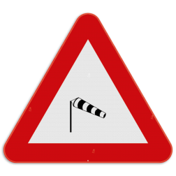 Verkeersbord A37: Dit gevaarsbord geeft aan dat er kans is op zijwind. De weggebruiker moet zijn snelheid en rijgedrag aanpassen en alert zijn voor de zijwind. Verkeersbord SB250 A37 - Zijwind A37