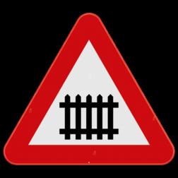 Verkeersbord A41: Dit gevaarsbord geeft aan dat je een overweg met slagbomen nadert voor trein - of tramsporen. Verkeersbord SB250 A41 - Overweg met slagbomen A41