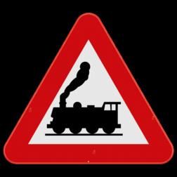 Verkeersbord A43: Dit gevaarsbord geeft aan dat je een overweg zonder slagbomen nadert voor trein - of tramsporen. Verkeersbord SB250 A43 - Overweg zonder slagbomen A43