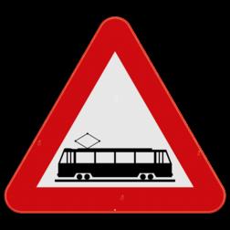 Verkeersbord A49: Dit gevaarsbord geeft aan dat de openbare weg kruist met een of meer in de rijbaan aangelegde sporen. Verkeersbord SB250 A49 - Openbare weg kruist met sporen in de rijbaan A49