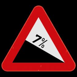 Verkeersbord A3: Dit gevaarsbord geeft aan dat je een een gevaarlijke daling nadert, het percentage op het bord geeft de dalingsgraad weer. Verkeersbord SB250 A3 - Gevaarlijke daling A3
