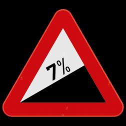 Verkeersbord A5: Dit gevaarsbord geeft aan dat je een een gevaarlijke helling nadert, het percentage op het bord geeft de hellingsgraad weer. Verkeersbord SB250 A5 - Gevaarlijke helling A5