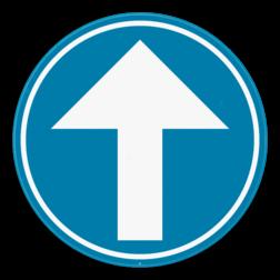 Verkeersbord D1a: Verplichting de door de pijl aangeduide richting te volgen. (rechtdoor) Verkeersbord SB250 D1a - Verplicht rechtdoor D1a