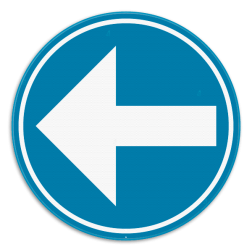Verkeersbord D1b: Verplichting de door de pijl aangeduide richting te volgen. (links) Verkeersbord SB250 D1b - Verplicht links D1b links
