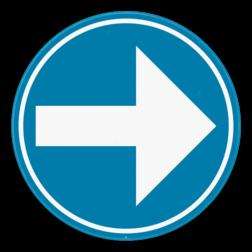 Verkeersbord D1b: Verplichting de door de pijl aangeduide richting te volgen. (rechts) Verkeersbord SB250 D1b - Verplicht rechts D1b rechts