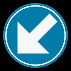 Verkeersbord D1c: Verplichting de door de pijl aangeduide richting te volgen (links aanhouden). Wanneer het verkeersbord op een hindernis geplaatst is, ga je de hindernis voorbij langs de kant waar de pijl naar wijst. Verkeersbord SB250 D1c - Verplicht links aanhouden D1c
