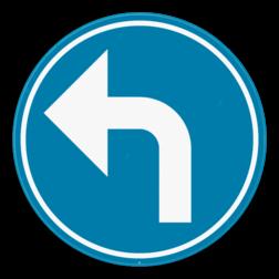 Verkeersbord D1e: Verplichting de door de pijl aangeduide richting te volgen. (linksaf) Verkeersbord SB250 D1e - Verplicht aangeduide richting te volgen (linksaf) D1e