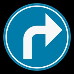 Verkeersbord D1f: Verplichting de door de pijl aangeduide richting te volgen. (rechtsaf) Verkeersbord SB250 D1f - Verplicht aangeduide richting te volgen (rechtsaf) D1f