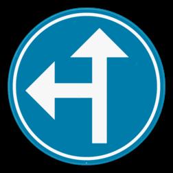 Verkeersbord D3a: Verplichting om één van de aangeduide pijlen te volgen. Verkeersbord SB250 D3a - Verplicht één van de pijlen te volgen D3a