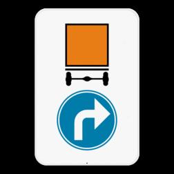 Verkeersbord D4 rechts: Verplichting voor voertuigen die gevaarlijke goederen vervoeren om de door de pijl aangeduide richting te volgen.(rechts) Verkeersbord SB250 D4 rechts - Verplicht rechts voor voertuigen die gevaarlijke goederen vervoeren D4 rechts