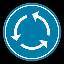 Verkeersbord D5: Verplicht rondgaand verkeer. Aanduiding van een rotonde. Verkeersbord SB250 D5 - Verplicht rondgaand verkeer D5