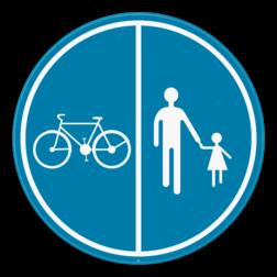 Verkeersbord D9a: Deel van de openbare weg is voorbehouden voor het verkeer van voetgangers, van fietsers en van tweewielige bromfietsen klasse A. Verkeersbord SB250 D9a - Deel van de weg voorbehouden voor voetgangers en fietsers D9a