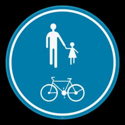 Verkeersbord D10: Deel van de openbare weg is voorbehouden voor het verkeer van voetgangers en fietsers. Verkeersbord SB250 D10 - Deel van de weg voorbehouden voor voetgangers en fietsers D10
