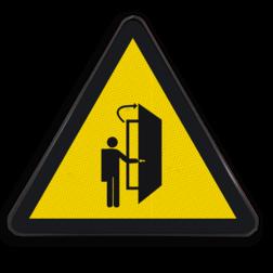 Product let op openslaande deur (geen officieel NEN-EN-ISO pictogram) Waarschuwingspictogram - pas op openslaande deur Waarschuwingssymbool, openslaande, deuren,