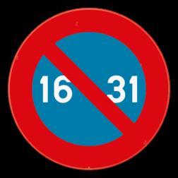 Verkeersbord E7: Dit verkeersbord geeft aan dat je hier niet mag parkeren van de 16e tot het einde van de maand. Het verbod geldt voor de kant van de weg waar het geplaatst is, tot aan het eerstvolgende kruispunt. Verkeersbord SB250 E7 - Parkeerverbod van de 16e tot het einde van de maand E7