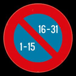 Verkeersbord E11: Dit verkeersbord geeft aan dat je van de 1ste tot de 15de van de maand enkel mag parkeren langs de kant van de onpare huisnummers. In de tweede helft van de maand (van de 16de tot het einde) mag je enkel langs de kant van de pare nummers parkeren. Verkeersbord SB250 E11 - Halfmaandelijks parkeren in gans de bebouwde kom E11