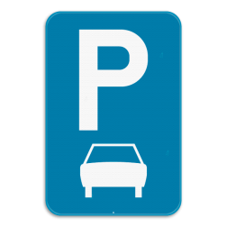 Verkeersbord E9b: Dit verkeersbord geeft aan dat er op de parkeerplaats enkel auto's mogen parkeren, dus geen bussen die meer als 8 personen kunnen vervoeren, vrachtauto's of motoren. Verkeersbord SB250 E9b - Parkeren uitsluitend voor auto's E9b