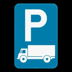 Verkeersbord E9c: Dit verkeersbord geeft aan dat je hier uitsluitend mag parkeren met lichte vrachtauto's en vrachtauto's. Verkeersbord SB250 E9c - Parkeren uitsluitend voor vrachtauto's E9c