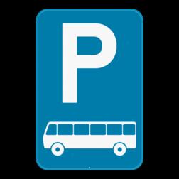 Verkeersbord E9d: Dit verkeersbord geeft aan dat je hier uitsluitend mag parkeren met autocars of een bussen. Verkeersbord SB250 E9d - Parkeren uitsluitend voor autocars E9d