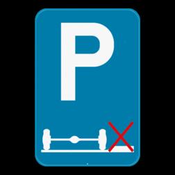 Verkeersbord E9g: Dit verkeersbord geeft aan dat je verplicht moet parkeren op de rijbaan. Verkeersbord SB250 E9g - Verplicht parkeren op de rijbaan E9g