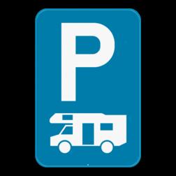 Verkeersbord E9h: Dit verkeersbord geeft aan dat je hier uitsluitend mag parkeren met kampeerauto's. Verkeersbord SB250 E9h - Parkeren uitsluitend voor kampeerauto's E9h