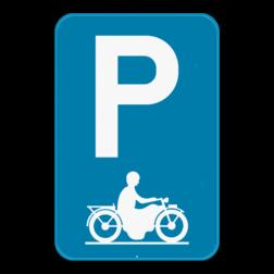 Verkeersbord E9i: Dit verkeersbord geeft aan dat je hier uitsluitend mag parkeren met motorfietsen. Verkeersbord SB250 E9i - Parkeren uitsluitend voor motorfietsen E9i