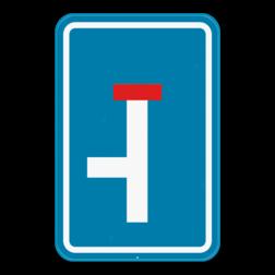 Verkeersbord F45L: Dit verkeersbord geeft aan dat het einde van deze weg doodlopend is, je kan wel nog links afslaan. Verkeersbord SB250 F45L - Doodlopende weg, linkse doorgang F45L