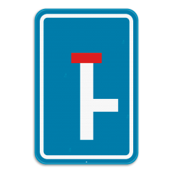 Verkeersbord F45R: Dit verkeersbord geeft aan dat het einde van deze weg doodlopend is, je kan wel nog rechts afslaan. Verkeersbord SB250 F45R - Doodlopende weg, rechtse doorgang F45R