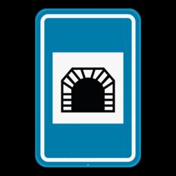 Verkeersbord F8: Dit verkeersbord geeft aan dat er een tunnel aankomt die langer is dan 500 meter. Verkeersbord SB250 F8 - Tunnel F8