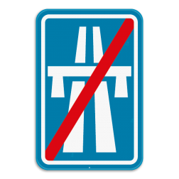 Verkeersbord F7: Dit verkeersbord geeft aan dat dit het einde van een autosnelweg is. Verkeersbord SB250 F7 - Einde autosnelweg F7