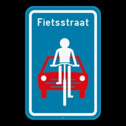 Verkeersbord F111: Dit verkeersbord geeft aan dat hier het begin is van een fietsstraat. Verkeersbord SB250 F111 - Fietsstraat F111