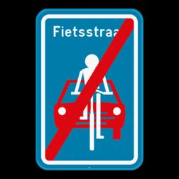 Verkeersbord F113: Dit verkeersbord geeft aan dat hier het einde is van een fietsstraat. Verkeersbord SB250 F113 - Einde fietsstraat F113