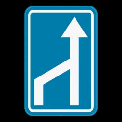 Verkeersbord F97: Dit verkeersbord geeft aan dat er een versmalling is van het aantal rijstroken. Verkeersbord SB250 F97 - Rijstrook versmalling F97