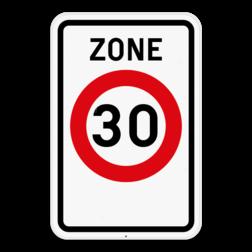 Verkeersbord F4a: Dit verkeersbord geeft aan dat hier het begin is van een zone met een snelheidsbeperking van 30km per uur. Verkeersbord SB250 F4a - Zone 30 F4a