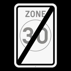 Verkeersbord F4b: Dit verkeersbord geeft aan dat hier het einde is van een zone met een snelheidsbeperking van 30km per uur. Verkeersbord SB250 F4b - Einde zone 30 F4b