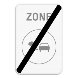 Verkeersbord F118: Dit verkeersbord geeft aan dat tot hier een lage emisiezone van kracht was. Verkeersbord SB250 F118 - Einde van lage emissiezone F118 zelf tekstbord maken, tekst invoeren, verkeersbord, onderbord